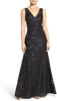 Vera Wang Cutout Back Embroidered Gown