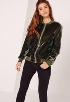 Missguided Tall Velvet Bomber Jacket Khaki