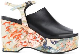 A.F.Vandevorst Floral Print Platform Sandals