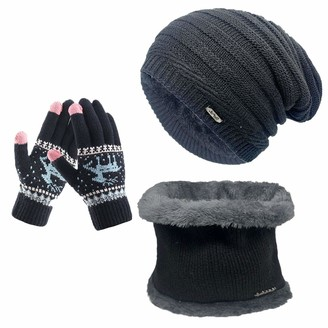 CheChury Winter Beanie Hat Knitted Hat and Scarf Set 3 Pcs Winter Set Thermal Neck Warmers Women Warm Circle Scarf Touch Screen Gloves Set Gifts for Skiing Hat Outdoor Sports
