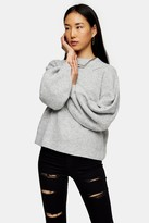 Topshop Grey Marl Super Soft Balloon Sleeve Sweater