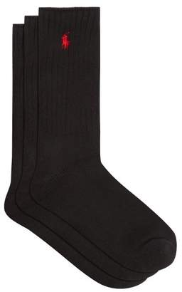 Polo Ralph Lauren Pack Of Three Logo Embroidered Cotton Blend Socks - Mens - Black
