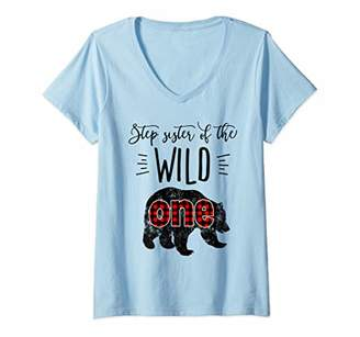 Womens Step Sister of Wild One Vintage Bear Lumberjack 1st Birthday V-Neck T-Shirt