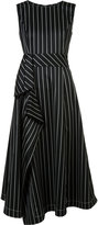 Carolina Herrera asymmetric pinstripe dress - women - Silk/Spandex/Elastane/Virgin Wool - 8