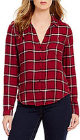 Calvin Klein Jeans Brushed Plaid Hi-Low Hem Shirt