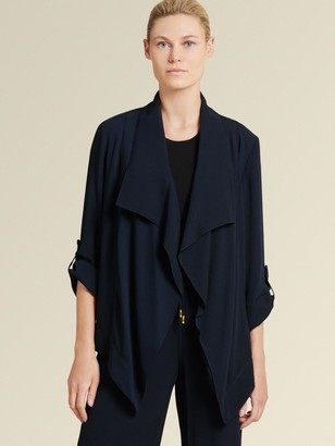 DKNY Drape Front Jacket With Roll Tab Sleeves