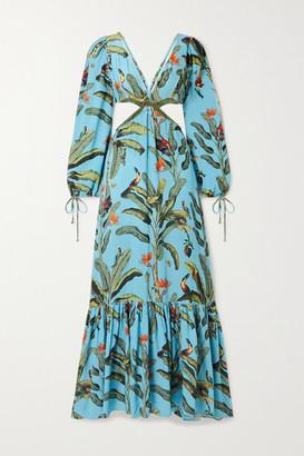 PatBO Cutout Printed Voile Maxi Dress - Light blue