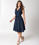 Unique Vintage Retro Style Denim Sleeveless Button Up Flare Dress