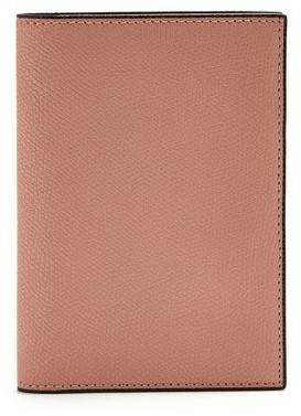 Valextra Grained-leather Passport Holder - Pink