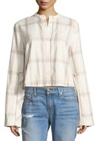 Derek Lam 10 Crosby Wide-Sleeve Grid-Print Cropped Cotton Shirt