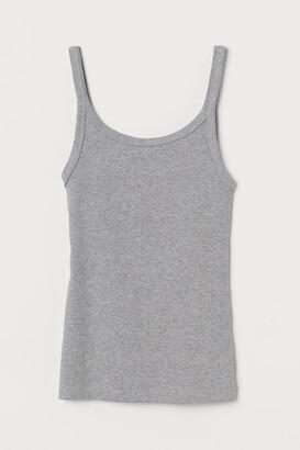 H&M Ribbed Jersey Tank Top - Gray