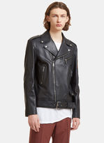 Gucci Men's Blind For Love Embroidered Patch Leather Biker Jacket In Black