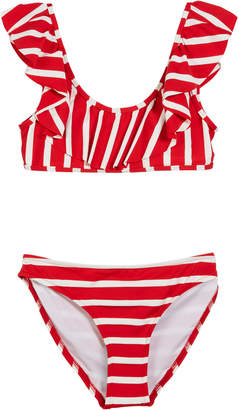 Milly Striped Ruffle Pinafore Two-Piece Swimsuit, Size 7-16
