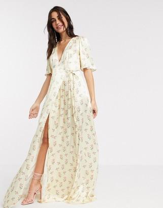 Ghost Bridesmaid perla floral printed satin wrap maxi dress in floral print