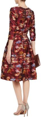 Oscar de la Renta Flared Fil Coupe Floral-jacquard Dress
