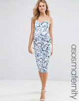 Asos Pencil Dress In Porcelain Floral Print