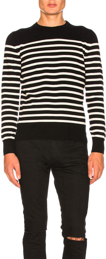 Saint Laurent Cashmere Striped Sweater in Black & White   FWRD