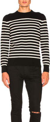 Saint Laurent Cashmere Striped Sweater in Black & White | FWRD