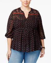 American Rag Trendy Plus Size Printed Babydoll Blouse, Only at Macy's