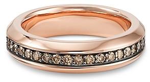 David Yurman Streamline Band Ring in 18K Rose Gold with Cognac Diamonds