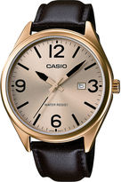 Casio Mens Champagne Dial Brown Leather Strap Watch MTP1342L-9B
