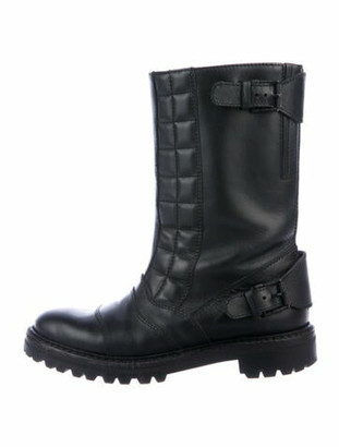 Belstaff Quilted Pattern Leather Moto Boots Black