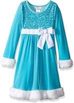 Bonnie Jean Little Girls' Sequin Bodice Santa