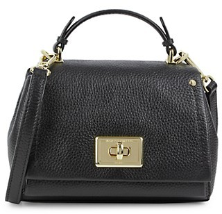 Karl Lagerfeld Paris Pebbled Leather Flap Crossbody Bag