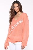 Wildfox Couture Let It Snow V-Neck Sweater in Coral