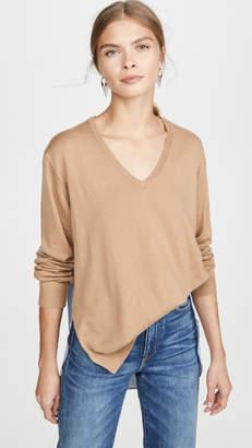 Tibi V Neck Combo Sweater