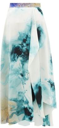 Roksanda Zinja Swirl-print Silk Midi Skirt - Beige Print