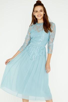 Little Mistress Clarita Blue Lace Midi Dress