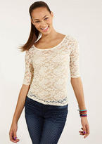 Delia's Lace Back Tie Long-Sleeve Tee