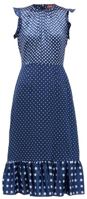 Altuzarra Rosa Polka-dot Silk-satin Dress - Womens - Blue Multi