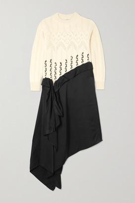 Loewe Asymmetric Paneled Wool And Alpaca-blend And Satin Midi Dress - White