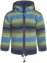 Laundromat Stripey Hoodie Wool Sweater - Fleece Lined, Full Zip (For Little Kids)