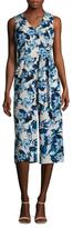Donna Ricco Floral Print Tie Belt Jumpsuit