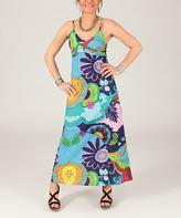 Aller Simplement Sky Blue & Yellow Floral Sleeveless Dress