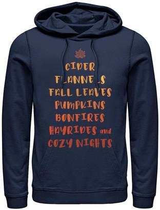 Fifth Sun Sweatshirts and Hoodies NAVY - Navy Autumn Words Stack Kangaroo-Pocket Hoodie - Adult