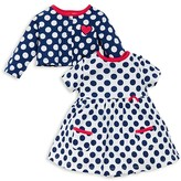 Offspring Infant Girls' Dot Knit Dress & Cardigan Set - Sizes 3-9 Months