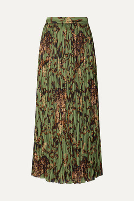 Johanna Ortiz The Act Of Nature Pleated Printed Crepon Midi Skirt - Green
