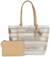 Loeffler Randall Women's Beach Tote Bag White/Silver/Natural