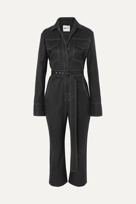 Orseund Iris Workwear Belted Cotton-gabardine Jumpsuit - Black