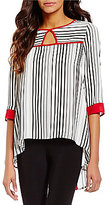 IC Collection Front Keyhole 3/4 Sleeve Back Zipper Striped Tunic