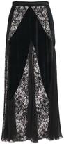 Thumbnail for your product : ZUHAIR MURAD Fluid Velvet Lace Midi Skirt