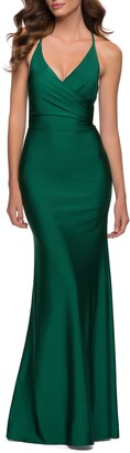 La Femme Wrap Front Strappy Back Jersey Gown