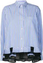 Sacai striped pleated hem shirt
