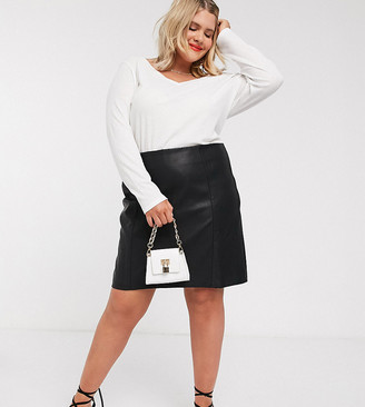 New Look Plus New Look Curve seamed faux leather mini in black