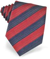 Forzieri Blue and Red Diagonal Striped Woven Silk Tie