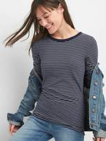 Gap Long Sleeve Stripe Crewneck T-Shirt Tunic in Feathered Knit